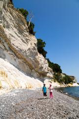 Kids at chalk cliffs
