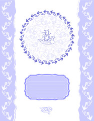Template for greeting cards or flyers with anchors.