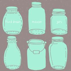 Hand drawn doodle mason jars kit
