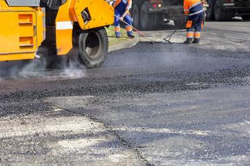 Asphalting roads