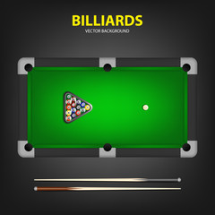 Billiard balls in triangle and two cues on a pool table.