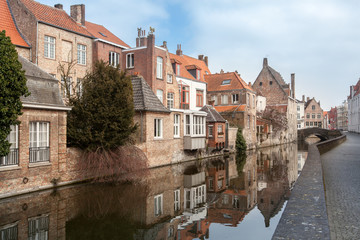 houses along the canals of Brugge, Belgium. Tourism destination