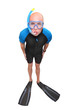 Scuba diver with diving mask, wetsuit and flippers.