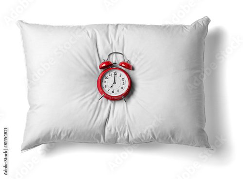 pillow and clock