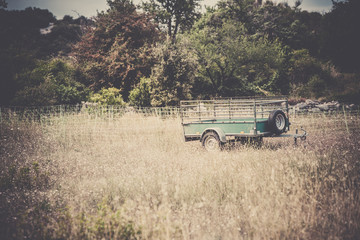 Old cargo trailer in a rural place