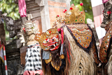 Barong dance mask of mythological animal,