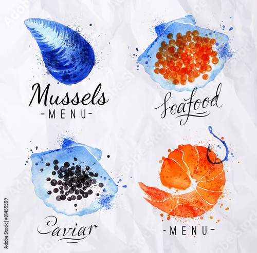 Watercolor signs seafood - 81455559