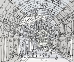 Pencil drawing gallery-passage