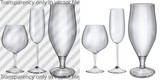 Transparent and opaque glass goblets for cognac, champagne, beer poster