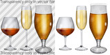 Transparent, opaque glass goblets with cognac, champagne, beer poster