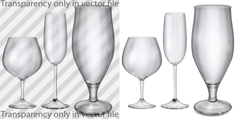 Transparent and opaque glass goblets for cognac, champagne, beer