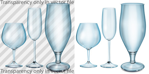 Transparent, opaque glass goblets for cognac, wine, beer in blue