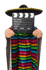 Handsome man in vivid poncho holding clapperboard isolated on