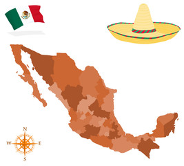 Map of Mexico, provinces and regions