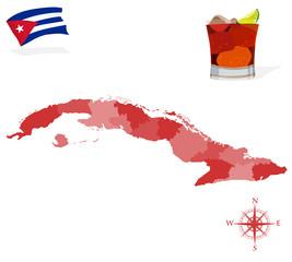 Map of Cuba, provinces and regions