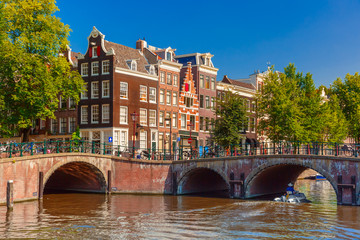 City view of Amsterdam canal, bridge and typical houses, Holland
