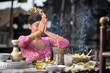 Leinwanddruck Bild - Beautiful Asian woman prays in the temple