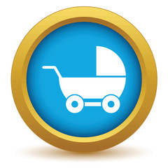 Gold baby carriage icon