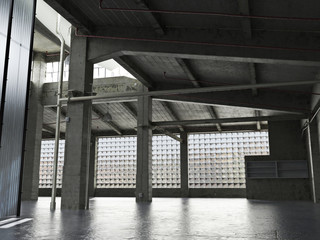 Large Interior grunge framed warehouse with an empty floor