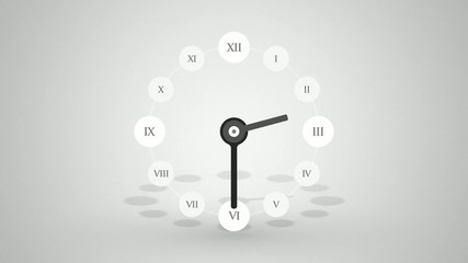 Single clock for half a day with roman numerals