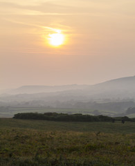Moody and calming sunset over Corfe Common
