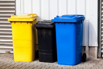 Recycle Bins. Three plastic bins