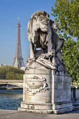 Alexandre III bridge in Paris against Eiffel Tower, France