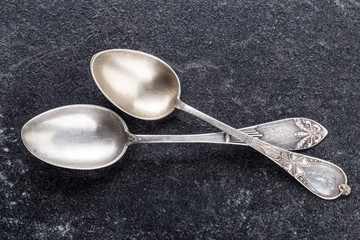 two old silver spoons