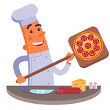Cartoon chef holding pizza shovel with pizza