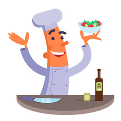 Cartoon chef holding plate with salad