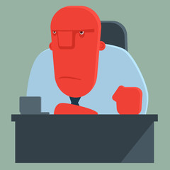 Dissatisfied boss sits at a table