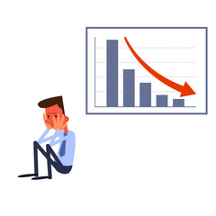Frustrated businessman and negative statistics chart