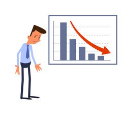 Frustrated businessman standing and negative statistics chart