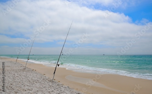 Fotobehang Vissen Fishing in Gulf of Mexico on white sand Florida Ocean Beaches