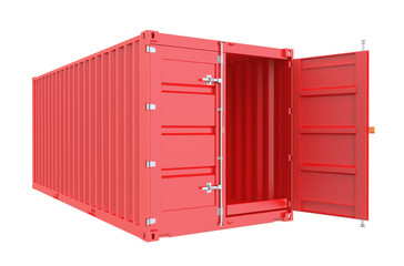red opened cargo container