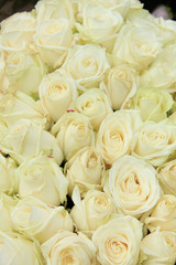 White roses in a wedding arrangement
