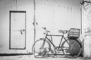 antique bicycle with luggage box
