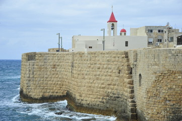 The walls of the fortress of Acre and St. John Church
