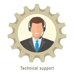 Technical support man with headphones