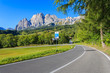 Scenic road to Cortina d'Ampezzo in Dolomites Mountains, Italy