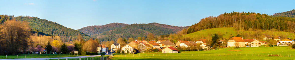 View of Gemaingoutte, a village in the Vosges Mountains - France