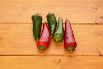 Five red and green hot chilis