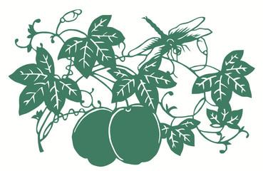 Стрекоза, сидящая на ветке вишни