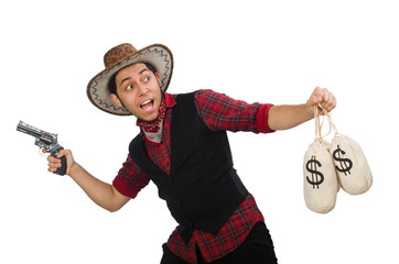 Young cowboy with gun and money bags isolated on white