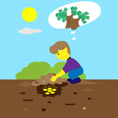 Young Man Burying Money Coins