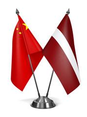 China and Latvia - Miniature Flags.