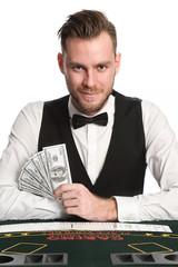 Smiling casino dealer