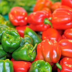Fresh healthy bio red and green paprika
