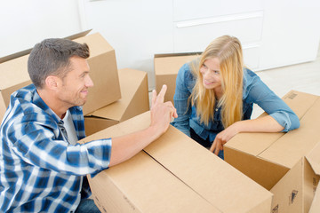 Tired couple are moving house