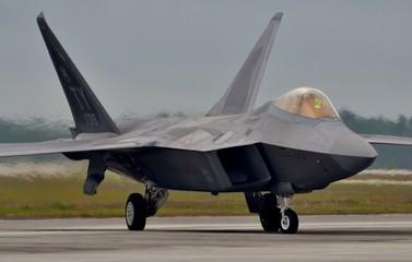 F-22 Raptor Taxiing on Runway